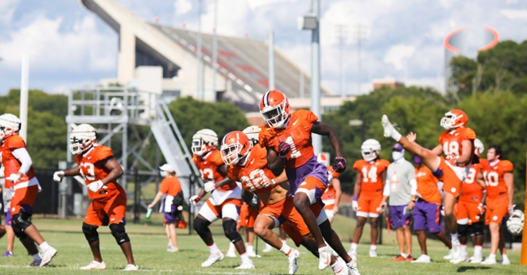 The Tigers practiced in Jervey Meadows. (Photo courtesy of CU Athletics)