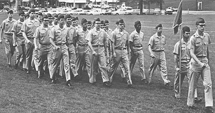 ROTC cadets on Bowman Field