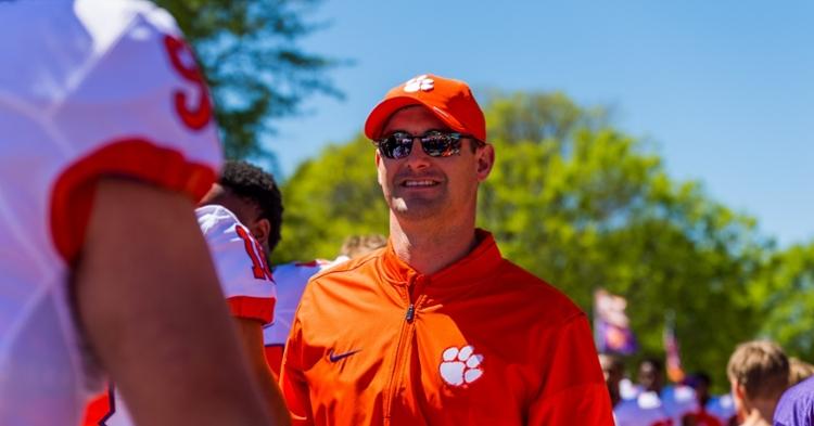 Jeff Scott smiles during Tiger Walk.
