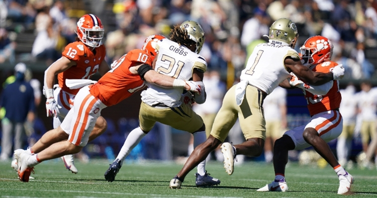 Baylon Spector takes down a Tech ballcarrier (Photo courtesy ACC)