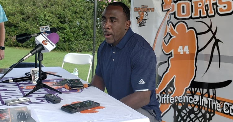 Spiller speaks to the media Monday at The Walker Course.