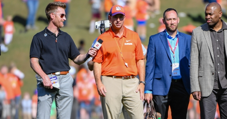 Swinney speaks with ESPN's Marty Smith during the spring game last year