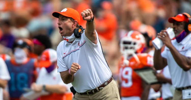 Swinney reacts to a play during the win over Syracuse. (Photo courtesy of ACC)