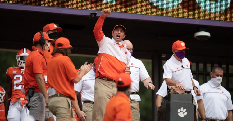 Clemson head coach Dabo Swinney at the top of the hill Saturday.