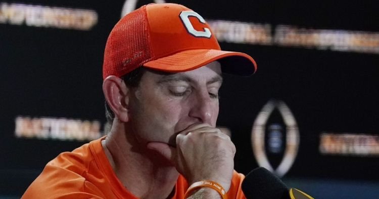Clemson head coach Dabo Swinney answers questions after the loss to LSU.  (Photo: Kirby Lee / USATODAY)