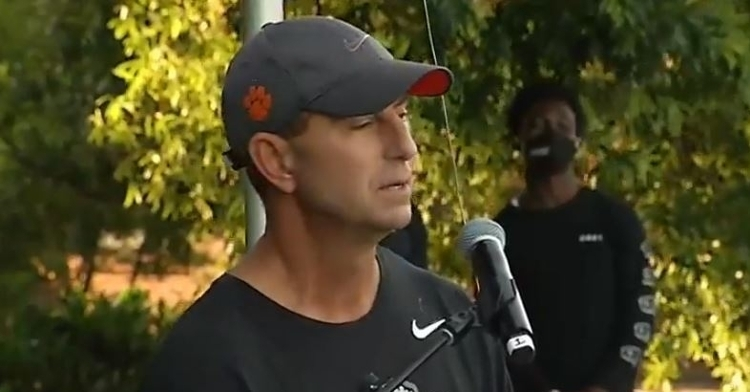 Swinney delivers his remarks Saturday.