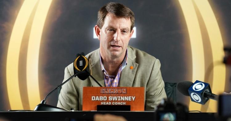 Clemson head coach Dabo Swinney talks to the media Saturday.  (Photo: John David Mercer / USATODAY)