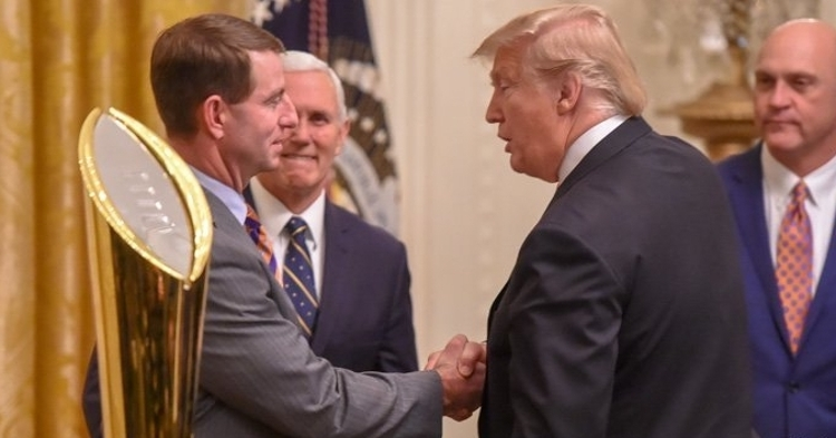 Clemson was in the White House in January 2019 after the 2018 national championship.