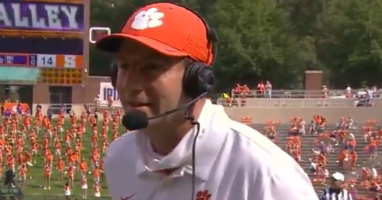 Clemson is up 13 points at halftime against Syracuse