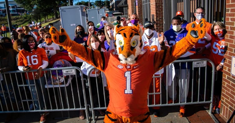 The Tiger poses before the game against Virginia (ACC pic).