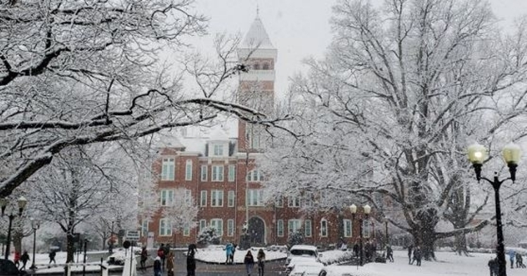 Tillman Hall covered in snow