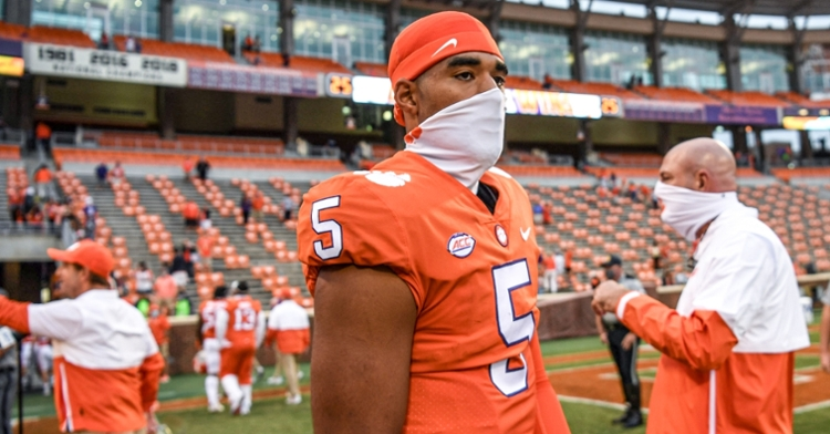 DJ Uiagalelei has been the first off the sidelines for Clemson after Trevor Lawrence so far. (Photo per ACC)