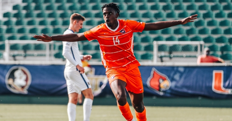 Mohamed Seye scores for the Tigers in the game's 13th minute.