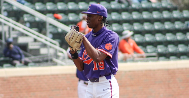 Askew makes his first start this season after 2 2/3 scoreless innings pitched this season (Clemson athletics photo)