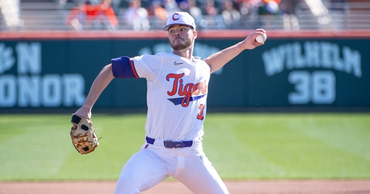 Grice pitched five shutout innings but the bullpen gave up four runs on five hits (Clemson athletics photo).
