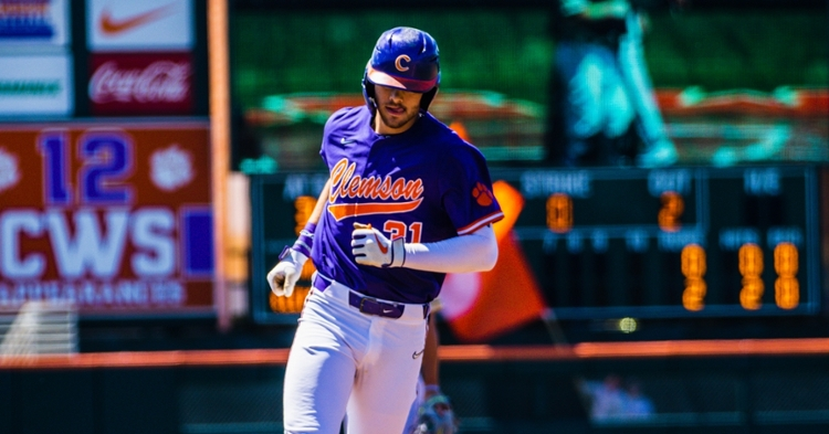 Caden Grice hit his fourth home of the series and is up to 10 RBIs on the weekend.  (ACC file photo)