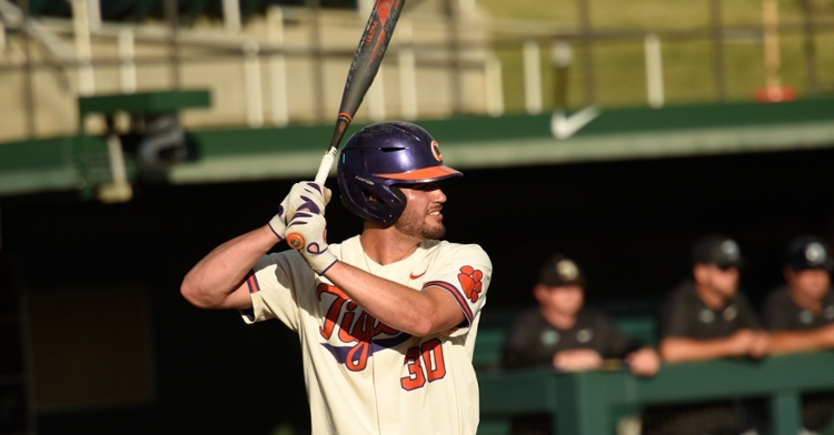 Davis Sharpe returned to the mound on Tuesday and has made an impact at the plate. (Clemson athletics photo)