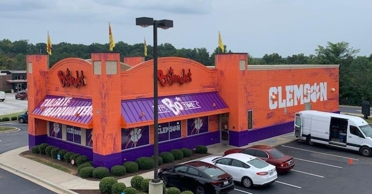 The Bojangles in Pendleton, SC is all dressed up with orange and purple