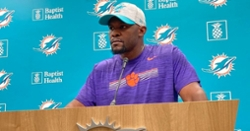 Dolphins head coach wears Clemson gear after losing bet to Christian Wilkins