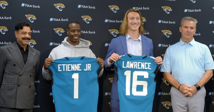 A jersey like Lawrence is holding in this photo will display prominently in the Nugent household (Bob Self/Florida Times-Union).