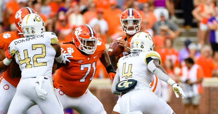 Clemson hasn't allowed a sack in the last two games, but it's a group that didn't look cohesive against Georgia Tech.