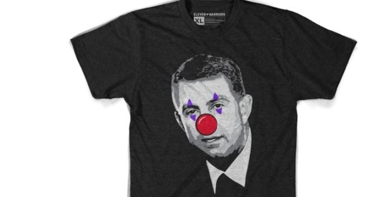The t-shirt description from the Ohio State site says, 'Born a clown. Still a clown.'