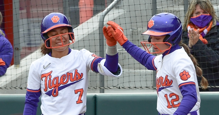 Clark, left, reached base three times and drove in three runs (ACC file photo).